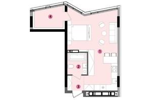 ЖК Lucky Land: планування 1-кімнатної квартири 44.24 м²
