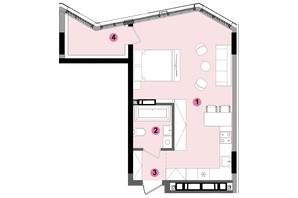 ЖК Lucky Land: планування 1-кімнатної квартири 44.62 м²