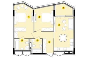 ЖК Lucky Land: планування 2-кімнатної квартири 73.97 м²