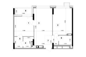 ЖК Lucky Land: планування 2-кімнатної квартири 67.01 м²