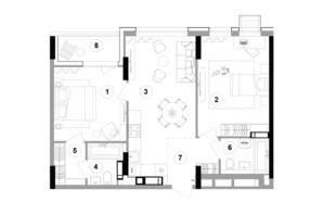 ЖК Lucky Land: планування 2-кімнатної квартири 71.75 м²