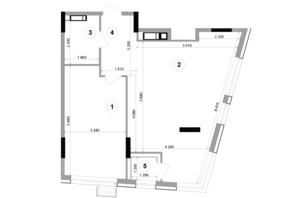 ЖК Lucky Land: планування 1-кімнатної квартири 62.77 м²