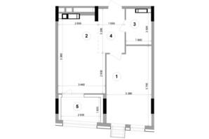 ЖК Lucky Land: планування 1-кімнатної квартири 50.91 м²