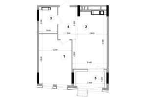 ЖК Lucky Land: планування 1-кімнатної квартири 47.68 м²