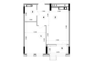 ЖК Lucky Land: планування 1-кімнатної квартири 46.69 м²
