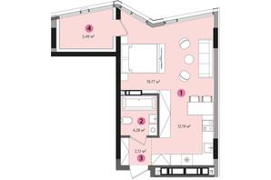 ЖК Lucky Land: планування 1-кімнатної квартири 41.65 м²