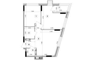 ЖК Lucky Land: планування 2-кімнатної квартири 69.24 м²