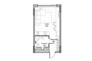 ЖК Lucky Land: планування 1-кімнатної квартири 29.82 м²