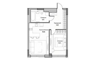 ЖК Lucky Land: планування 1-кімнатної квартири 46.23 м²