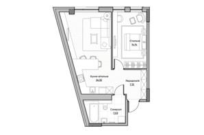 ЖК Lucky Land: планування 1-кімнатної квартири 52.82 м²