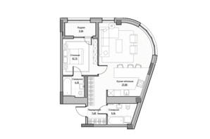 ЖК Lucky Land: планування 1-кімнатної квартири 58.9 м²
