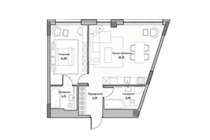 ЖК Lucky Land: планування 1-кімнатної квартири 55.42 м²