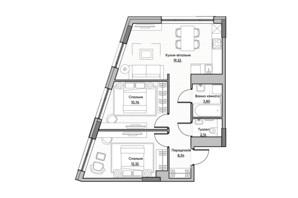 ЖК Lucky Land: планування 2-кімнатної квартири 57.58 м²