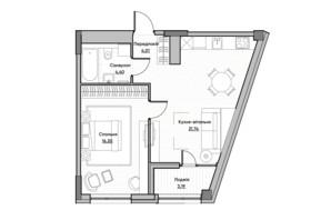 ЖК Lucky Land: планування 1-кімнатної квартири 42.02 м²