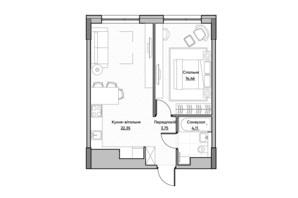 ЖК Lucky Land: планування 1-кімнатної квартири 44.67 м²