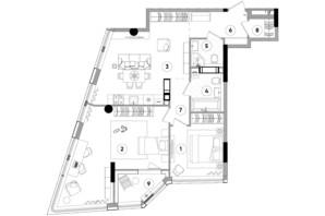 ЖК Lucky Land: планування 2-кімнатної квартири 83.41 м²