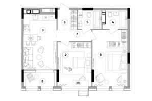 ЖК Lucky Land: планування 2-кімнатної квартири 72.17 м²