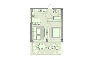 ЖК Luxberry lakes & forest: планування 1-кімнатної квартири 52.4 м²