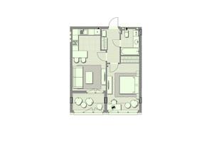 ЖК Luxberry lakes & forest: планування 1-кімнатної квартири 51.9 м²