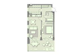 ЖК Luxberry lakes & forest: планування 1-кімнатної квартири 64.6 м²