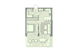 ЖК Luxberry lakes & forest: планування 1-кімнатної квартири 52.6 м²