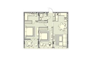 ЖК Luxberry lakes & forest: планування 2-кімнатної квартири 77.7 м²