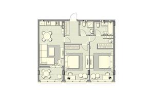 ЖК Luxberry lakes & forest: планування 2-кімнатної квартири 78.3 м²