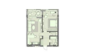 ЖК Luxberry lakes & forest: планування 1-кімнатної квартири 64 м²
