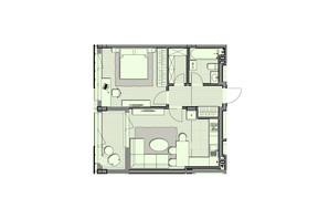 ЖК Luxberry lakes & forest: планування 1-кімнатної квартири 55.7 м²