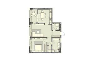 ЖК Luxberry lakes & forest: планування 2-кімнатної квартири 76.8 м²