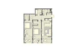 ЖК Luxberry lakes & forest: планування 2-кімнатної квартири 102.8 м²