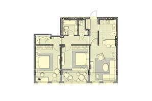 ЖК Luxberry lakes & forest: планування 2-кімнатної квартири 86.1 м²