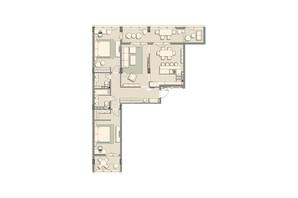 ЖК Luxberry lakes & forest: планировка 3-комнатной квартиры 120.8 м²