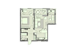 ЖК Luxberry lakes & forest: планировка 1-комнатной квартиры 71.7 м²