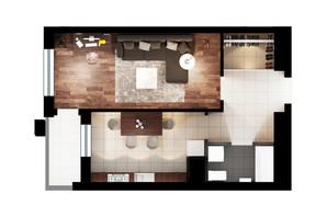 ЖК Львівська Площа: планування 1-кімнатної квартири 46.52 м²