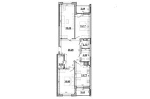 ЖК Львівська Площа: планування 3-кімнатної квартири 101.91 м²