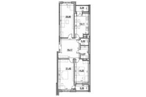 ЖК Львівська Площа: планування 3-кімнатної квартири 102.19 м²