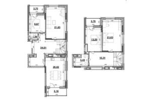 ЖК Львівська Площа: планування 4-кімнатної квартири 140.16 м²
