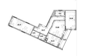ЖК Львівська Площа: планування 3-кімнатної квартири 115.77 м²