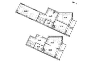ЖК Львівська Площа: планування 4-кімнатної квартири 124.47 м²