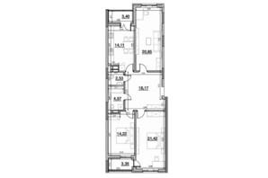 ЖК Львівська Площа: планування 3-кімнатної квартири 101.74 м²