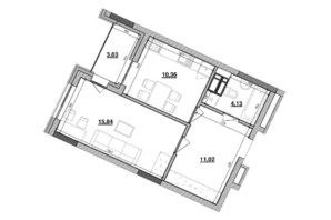 ЖК Львовская площадь: планировка 1-комнатной квартиры 44.98 м²