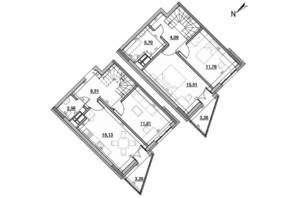 ЖК Львовская площадь: планировка 3-комнатной квартиры 83.12 м²