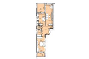 ЖК Львовская площадь: планировка 2-комнатной квартиры 74.11 м²