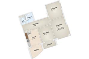 ЖК Lystopad: планування 3-кімнатної квартири 95.6 м²