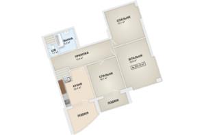 ЖК Lystopad: планування 3-кімнатної квартири 94.5 м²