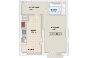 ЖК Lystopad: планування 1-кімнатної квартири 47.2 м²