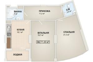 ЖК Lystopad: планировка 2-комнатной квартиры 77.2 м²