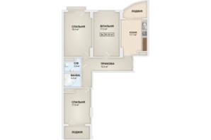ЖК Lystopad: планировка 3-комнатной квартиры 90.5 м²