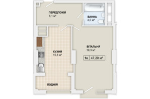 ЖК Lystopad: планировка 1-комнатной квартиры 47.2 м²